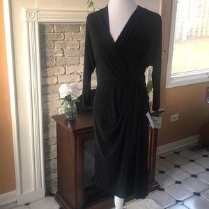 SUZI CHIN FOR MAGGY BOUTIQUE BLACK WRAP DRESS 14